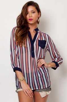LoveMelrose.com From Harry & Molly | Striped sheer chiffon high low hem blouse from Love Melrose - LONG SLEEVE - tops