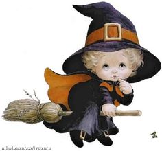 Cute Little Witch Retro Halloween, Vintage Halloween Images, Halloween Clipart, Halloween Pictures, Fall Halloween, Halloween Crafts, Happy Halloween, Halloween Witches, Halloween Illustration