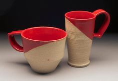 robin edgerton pottery mugs, 2012. red glaze on stoneware. @ levy cheese snob