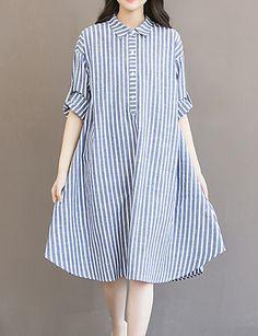 24cd1de914a9   29.39  Per donna Taglie forti Cotone Pantaloni - A strisce Blu   Largo    Colletto   Asimmetrico   Per uscire