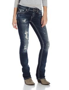 351023f354 Silver Jeans Juniors Aiko Medium Wash Ripped Baby Bootcut Jean Indigo 25x33  -- Check this awesome product by going to the link at the … | Fashion Pants  in ...