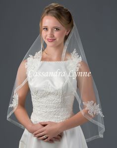 Bridal Veil with Sheer Ribbon Edge and Lace Appliques