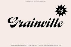 Grainville Script Font Best Script Fonts, Great Fonts, Fancy Fonts, Cool Fonts, Awesome Fonts, Handwritten Typography, Script Typeface, Typography Letters, Typography Design