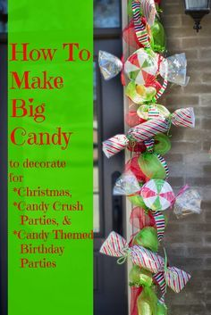 Make Big Candy Decorations Miss Kopy Kat - Making large candy for Christmas or other party ideas Christmas Parade Floats, Candy Land Christmas, Candy Christmas Decorations, Christmas Gingerbread, Christmas Time, Christmas Holidays, Christmas Colors, Lollipop Decorations, Large Outdoor Christmas Decorations