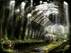 Russian artist Vladimir Manyuhin had enough imagination to draw some of pretty realistic illustrations about how world might look after apocalypse. Post Apocalypse, Apocalypse Aesthetic, Apocalypse World, Nuclear Apocalypse, Post Apocalyptic City, Creation Art, Matte Painting, Fantasy Landscape, Landscape Art