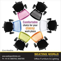 Comfortable chairs for your classy work place. #OfficeFurniture #OfficeLighting #Hyderabad SEATING WORLD: Office Furniture and lighting. E-mail: seatingwold@usa.net Sales Contact: Sales@seatingworldindia.com Ph: +91-40-66667642,66667695.