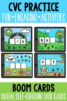 Help students practice phonics skills and phonological awareness with fun, engaging, no-prep digital activities! These activities are self-checking and simple to use! 80 Task Cards are included in total. Boom Cards™ are digital task cards that can be used in the classroom or for home learning. #BoomLearning #Digital #HomeLearning #Phonics #ELA #Kindergartenphonics #Kinderreading