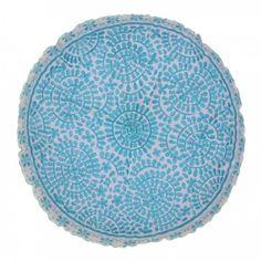 Souk Embroidered Cushion Round Turquoise - Emiline House - Available Now !   www.emilinehouse.com
