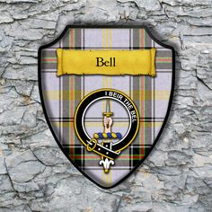 Bell Plaque with Scottish Clan Badge on Clan Tartan Background by YourCustomStuff on Etsy https://www.etsy.com/listing/262615996/bell-plaque-with-scottish-clan-badge-on