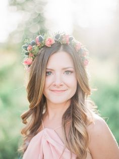Boho chic rose and thistle flower crown: Photography: Julie Paisley - www.juliepaisley.com   Read More on SMP: http://www.stylemepretty.com/2017/04/13/the-only-thing-better-than-that-view-is-this-insanely-cute-couple/