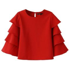 Memorose Women Elegant O-Neck Solid Ruffle Flare Sleeve Short Top... ($19) ❤ liked on Polyvore featuring tops, blouses, flutter-sleeve top, red ruffle blouse, flounce top, bell sleeve blouse and bell sleeve shirt