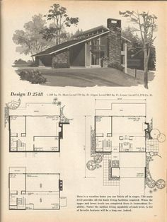 vintage house plans mid century homes - 1970s House Designs