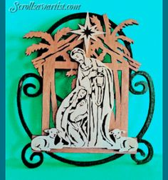 Scroll Saw Patterns :: Holidays :: Christmas :: Plaques & other projects :: Nativity in three layers -
