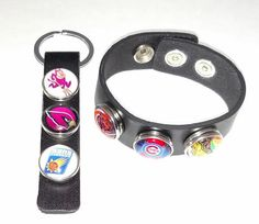 Leather black key chain or unisex bracelet for interchangeable snap button charms by vevJewelry on Etsy