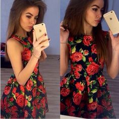 Woman's Fashion 2017 Summer Sexy Elegant Party Floral Dress Women Casual Print Beach Vintage Mini Sun Dress Plus Size