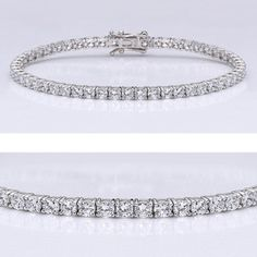This popular ccbic zirconia tennis bracelet features 0.10 carat each (3mm) brilliant round stones prong set in 14k white gold. An approximate 5.70 total carat weight. This high quality cubic zirconia bracelet is 7 inches long, also available in different lengths via special order. Cubic zirconia weights refer to equivalent diamond carat size.