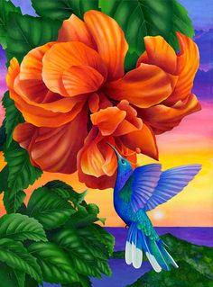 pajaros-y-flores-pintados-al-oleo