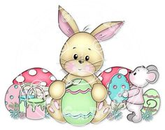 Digi Stamp Egg Decorating  Easter Birthday by PinkGemDesigns