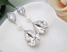 Swarovski Crystal and Pearls Tear drops
