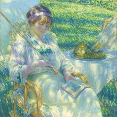 Louis Ritman Lady in the Sunshine Reading ... - still life quick heart