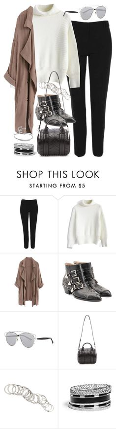 """Outfit for work in winter"" by ferned ❤ liked on Polyvore featuring Topshop, Chicwish, WithChic, Chloé, Christian Dior, Alexander Wang, H&M, GUESS and Monica Vinader"