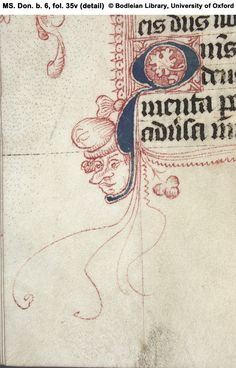 Illuminated Manuscript fol. 35v (detail) Penwork: male head.
