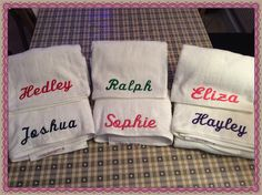 Embroidered towels made fab Christmas presents! Make Bunting, Embroidered Towels, Christmas Presents, Machine Embroidery, Sayings, Xmas Gifts, Lyrics, Christmas Gifts, Quotations