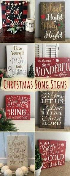 Christmas Song Signs Home Decor - Christmas - Diy & Crafts Noel Christmas, Primitive Christmas, Rustic Christmas, All Things Christmas, Winter Christmas, Christmas Pallet Signs, Simple Christmas, Christmas Vinyl, Christmas Music