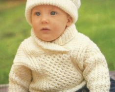 Baby Matinee Cardigan/Coat Bonnet and Socks to knit by BoPeepStore