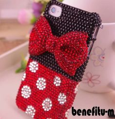 New Handmade Bling Sparkle Diamond Crystal Pearl iPhone Case Bling Phone Cases, Ipod Cases, Diy Phone Case, Cute Phone Cases, Cellphone Case, Minnie Bow, Minnie Mouse, Disney Phone Cases, Cute Cases