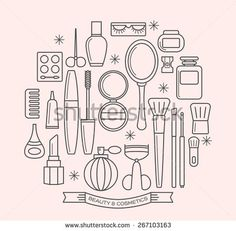 beauty and cosmetics thin line outline vector icons set