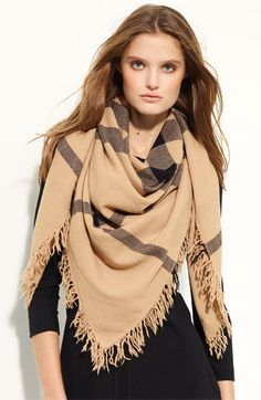 Burberry check wool scarf.