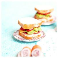muddling through : mini food from polymer clay : sandwich with salami & cheese