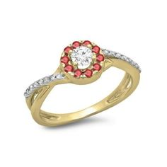 0.50 Carat (ctw) 18K Yellow Gold Round Cut Ruby & White Diamond Ladies... ($449) ❤ liked on Polyvore featuring jewelry, rings, yellow, round cut engagement rings, gold engagement rings, yellow gold ruby ring, 18 karat gold ring and ruby ring
