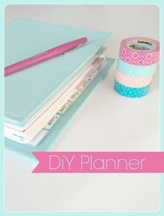 DIY planner -- so cute! Links to printables and her resources, too. Love the washi tape planner Organisation Hacks, School Organization, Kitchen Organization, Organizing Tips, Diy Makeup Organizer, Makeup Organization, Storage Organization, Life Planner, Happy Planner