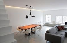 Interior Design, Unique Pendant Lamps And Minimalist Wooden Dining Table Also White Chair For Dining Area With Minimalist Style: Appealing Home Decorating For Minimalist Style