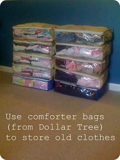 Genius!!! Use comforter bags from Dollar Tree to store clothes from season to season.  So much cheaper and takes up less space!