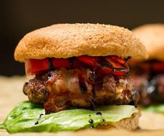 Bacon Wrapped Gorgonzola Fig Burgers with Balsamic Glaze - Ari's Menu Hamburger Recipes, Ground Beef Recipes, Bacon Wrapped Burger, Gourmet Hamburgers, Burger Patty Recipe, Local Burger, Burgers And More, Easy Cooking, Pulled Pork