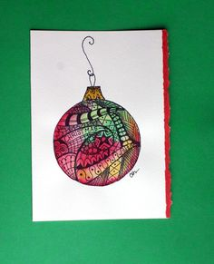 Zentangle artNo 50 watercolor card Christmas by ArtworksEclectic Simple Christmas Cards, Xmas Cards, Christmas Art, Greeting Cards, Christmas Ornaments, Christmas Doodles, Christmas Ideas, Watercolor Art Lessons, Watercolor Art Diy