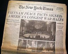 The front page of the New York Times announces the Paris Peace Accords, which helped bring the Vietnam War to an end. Description from oregonlive.com. I searched for this on bing.com/images