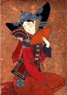 Zayasaikhan Sambuu (better known as Zaya), Mongolian artist, born in 1975 Dark Art Illustrations, Illustration Art, Oriental, Geisha Art, Art Japonais, National Art, Japanese Prints, Op Art, Naive