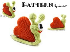 Cupid the Love Snail Stuffed Toy Crochet Pattern www.irarott.com - I wish I could crochet!