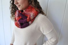 Chevron Crochet Infinity Scarf  100  Wool  Purple by theComfyTimes, $60.00
