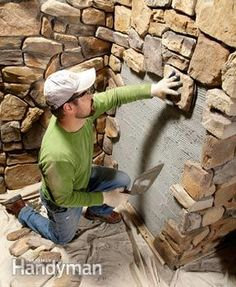 Modern stone veneer installation tips from a professional installer. Modern stone veneer is attractive, durable and nearly maintenance free. We'll have a professional show you key installation tips to apply it to your home. Read more: www. Outdoor Projects, Home Projects, Rustic Fireplaces, Stone Veneer Fireplace, Diy Fireplace, Brick Fireplaces, Home Repairs, Stone Work, Home Improvement