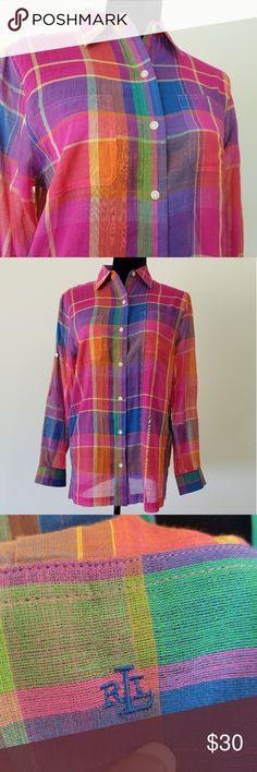 "Women's Ralph Lauren Button up Colorful Women's Ralph Lauren Button up with clear buttons. Size small. 100% cotton. 34"" bust. 27"" length. 22"" sleeve that can be rolled up into button. 2 pockets.  EUC. No flaws. I'm a top rated suggested user and love to give great deals. If you have any questions about my items don't hesitate to ask! :) Ralph Lauren RRL Tops Button Down Shirts"