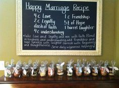 """Recipe for a happy marriage"" we could have guests bring one of their favorite recipes and create a recipe book for the bride"