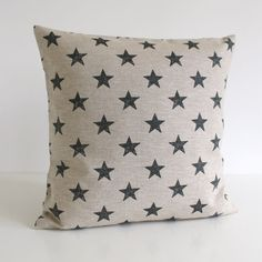 one pillow cover in natural linen and black a modern print on a beautiful 100