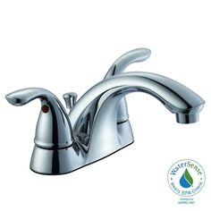 Glacier Bay Builders 4 in. Centerset 2-Handle Low-Arc Bathroom Faucet in Chrome-67091W-6101 - The Home Depot