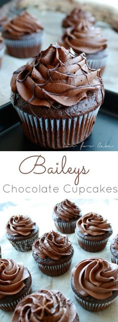 Delicious chocolate cupcakes with a whipped chocolate Baileys buttercream. These Baileys Chocolate Cupcakes are the perfect treat. Chocolate Baileys, Chocolate Cupcakes, Chocolate Desserts, Baileys Cake, Chocolate Buttercream, Baileys Frosting Recipe, Baileys Cheesecake, Chocolate Torte, Buttercream Cupcakes