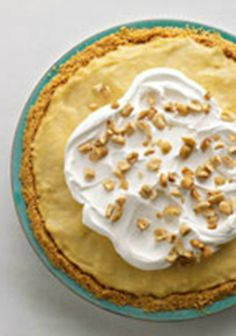 Easy Peanut Butter-Banana Cream Pie — A luscious peanut butter-and-pudding filling is spooned into a cookie crust layered with banana slices to make this easy cream pie.